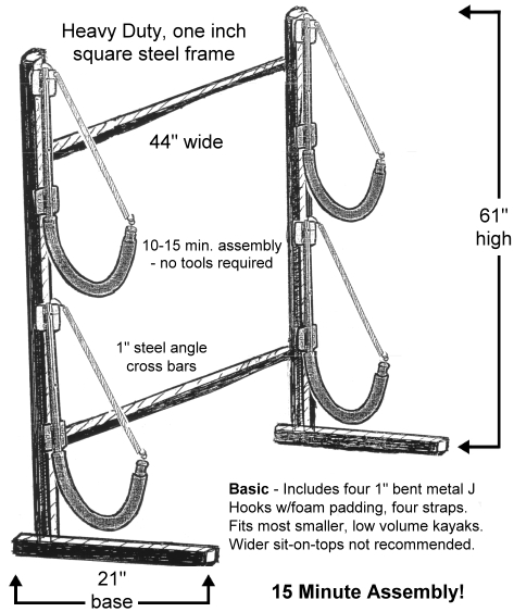 Basic One Sided Free Standing Kayak Rack Includes; 4 J Hooks, 4 Straps U0026  Hardware.